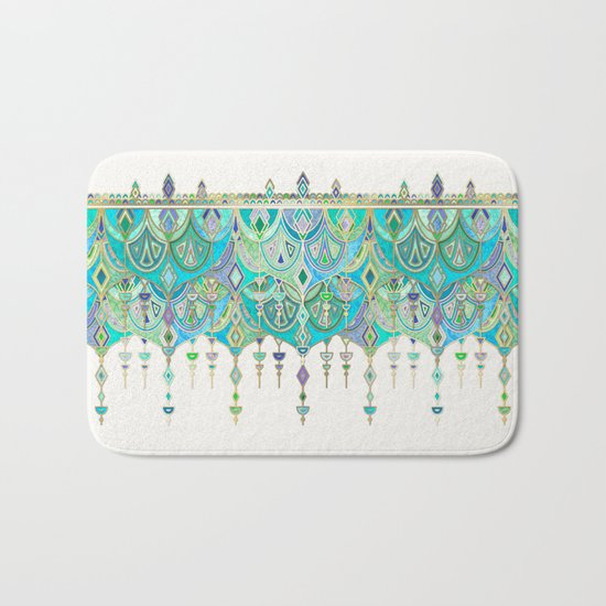 Art Deco Double Drop in Jade and Aquamarine on Cream Bath Mat