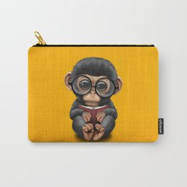 Cute Baby Chimp Reading a Book on Yellow Carry-All Pouch