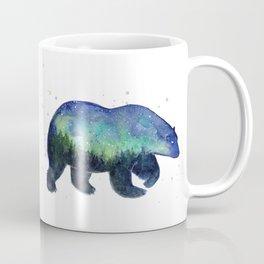 Polar Bear Silhouette with Northern Lights Galaxy Coffee Mug