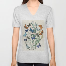 Vintage Scientific Illustration Butterfly Botanical Floral Lithograph Encyclopaedia Diagrams  Unisex V-Neck