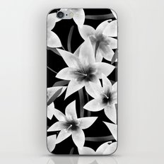 White lilies on a black background . iPhone & iPod Skin