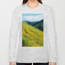yellow poppy flower field with green leaf and green mountain and cloudy blue sky in summer Long Sleeve T-shirt
