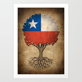 Vintage Tree of Life with Flag of Chile Art Print