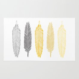 5 Grey & Gold Feathers Rug
