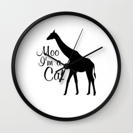 Moo I Am a Cat Funny Graphic Animal T-shirt Wall Clock
