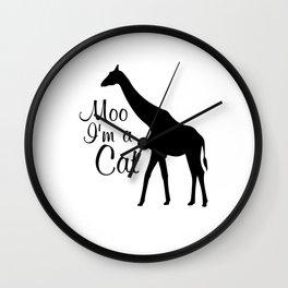Moo I Am a Cat Funny Graphic Animal T-shirt Wall Clock