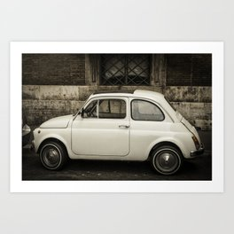 Little Italian retro car in Rome, Italy Art Print