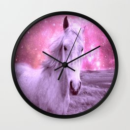Pink Horse Celestial Dreams Wall Clock