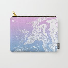 Suminagashi marble pastel pink and blue minimal watercolor spilled ink swirl Carry-All Pouch