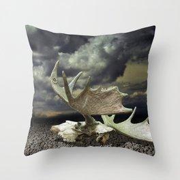 Moose Skull Throw Pillow