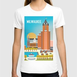 Milwaukee, Wisconsin - Skyline Illustration by Loose Petals T-shirt