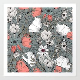 Seamless pattern design with hand drawn flowers and floral elements Art Print