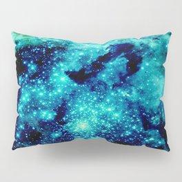 GALAXY. Teal Aqua Stars Pillow Sham