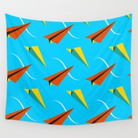 plane Wall Tapestries featuring Papper Plane by Bakal Evgeny