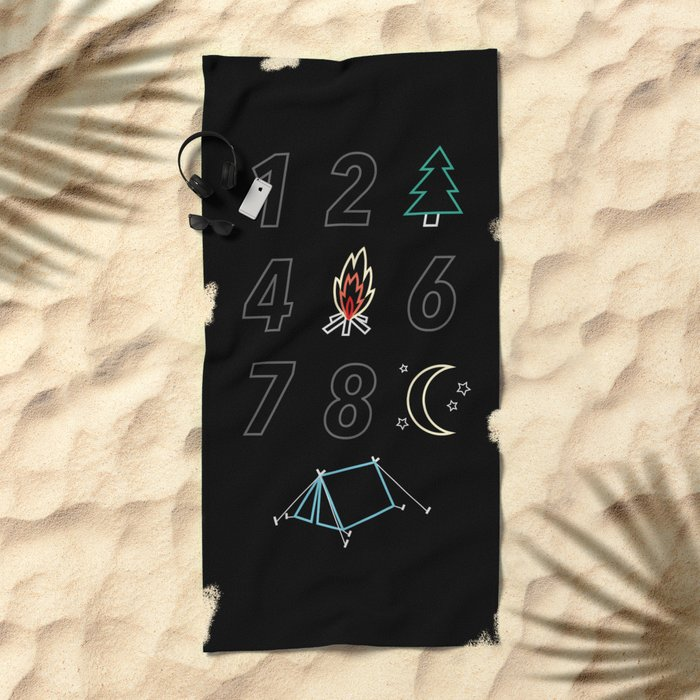 1 2 tree 4 fire 6 7 8 night tent Beach Towel