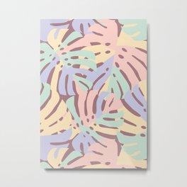 Pastel Monstera Leaves Metal Print