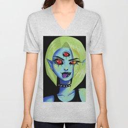 Blue Rocker girl monster Unisex V-Neck