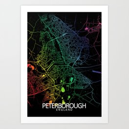 Peterborough, England, City, Map, Rainbow, Map, Art, Print Art Print
