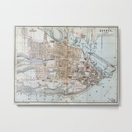 Vintage Map of Quebec City (1894) Metal Print