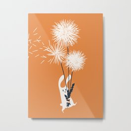 Bunny and Dandelion Bouquet Metal Print