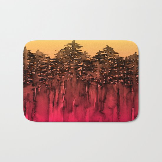 FOREST THROUGH THE TREES 12 Hot Pink Magenta Orange Black Landscape Ombre Abstract Painting Outdoors Bath Mat