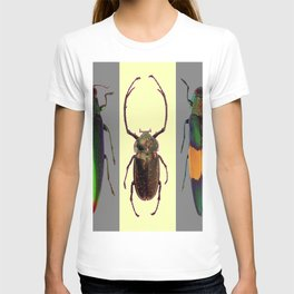 BEETLES ON CREAM & GREY  ABSTRACT ART T-shirt