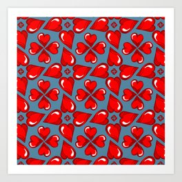 red heart fine line pattern on niagara blue Art Print