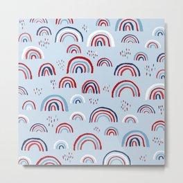 Magic rainbow sky kids 4th of July celebration pattern design blue Metal Print