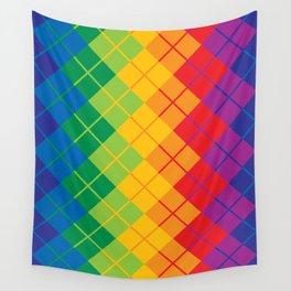 Rainbow Argyle Wall Tapestry