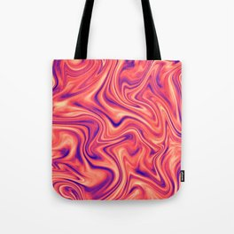 Abstract Colorful Marble Pattern Bright Living Coral, Neon Ultra Violet Tote Bag