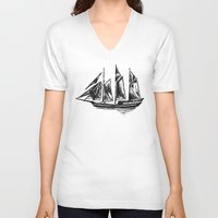 ship V-neck T-shirts featuring Ship by LeahOwen