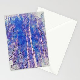 White Trees Light Blue Sky In February Watercolor Stationery Cards