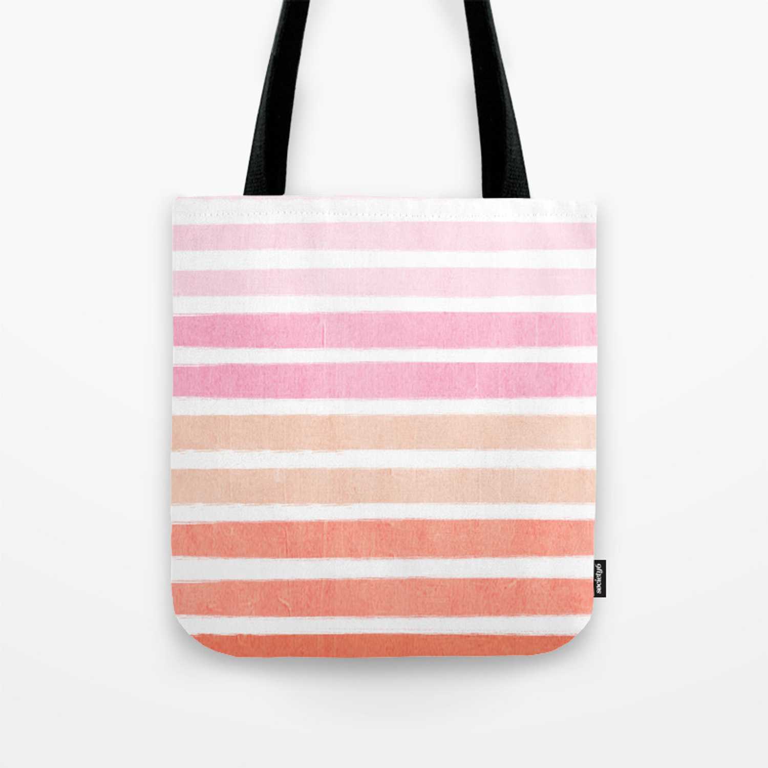 Camil Ombre Gradient Brushstrokes Abstract Painting Minimalist Seaside Coastal Beach Cottage Decor Tote Bag