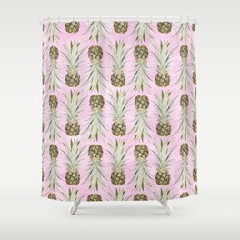 Pineapple Jungle - Pink Shower Curtain