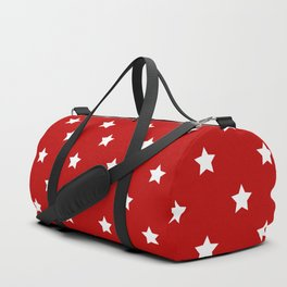 Red Background With White Stars Pattern Duffle Bag