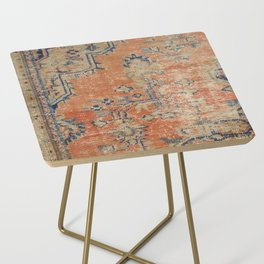 Vintage Woven Navy and Orange Side Table