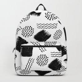 Black white geometrical 80s pattern paint brushstrokes Backpack