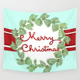 Merry Christmas striped wreath Wall Tapestry