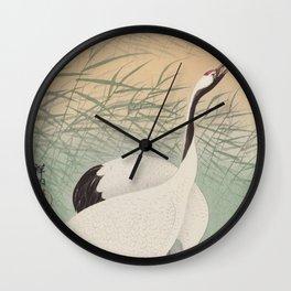 Two cranes (1925 - 1936) by Ohara Koson (1877-1945) Wall Clock