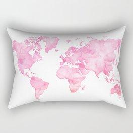 Pink watercolor world map Rectangular Pillow