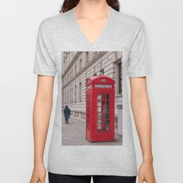 London Red Phone Booth Travel Photography Classic England Photo Unisex V-Neck