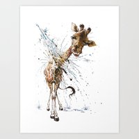 giraffe Art Prints featuring Giraffe by TAOJB