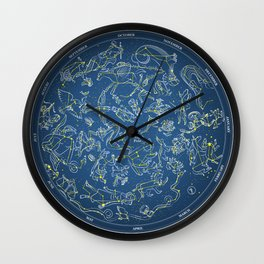 Constellations of the Northern Sky - Negative version Wall Clock