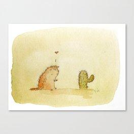 Porcupine Loves Cactus Canvas Print