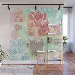 Flying hippos Wall Mural