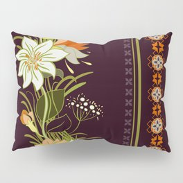Folkloric Ethnic Embroidery Flowers Pillow Sham