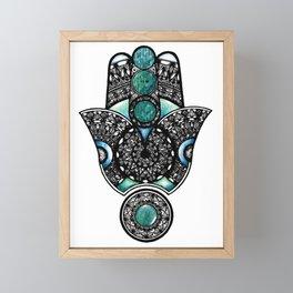 Blue hamsa hand Framed Mini Art Print