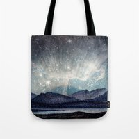 northern lights Tote Bags featuring Northern lights by LisaB