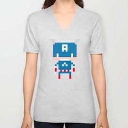 Pixel Captain America Unisex V-Neck