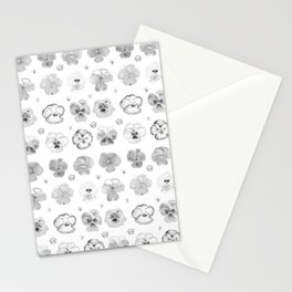 pansies illustration collection black and white Stationery Cards